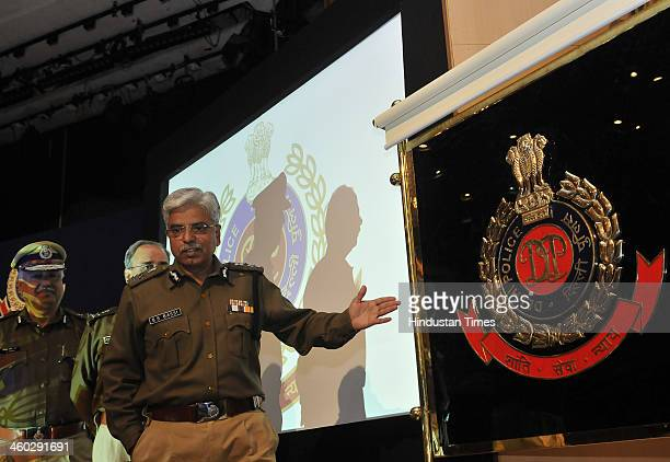 Delhi Police Commissioner Bhim Sain Bassi with the new logo of Delhi Police during the Annual Press Conference at India Habitat Centre on January 3...