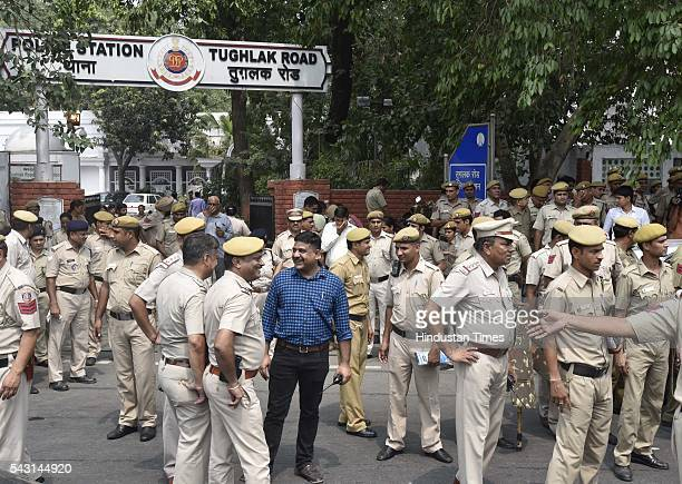Delhi Police Officers in happy mood after Deputy Chief Minister Manish Sisodia and 51 other Aam Aadmi Party MLAs detained while they were marching...