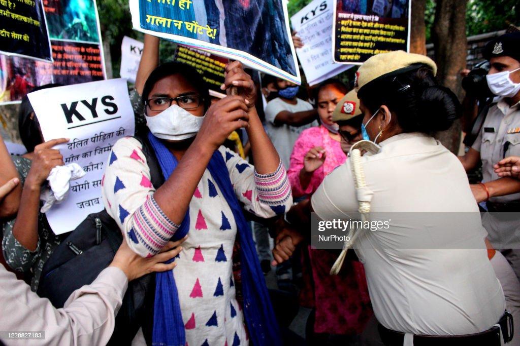 Protest Against Hathras Rape Crime In New Delhi : News Photo