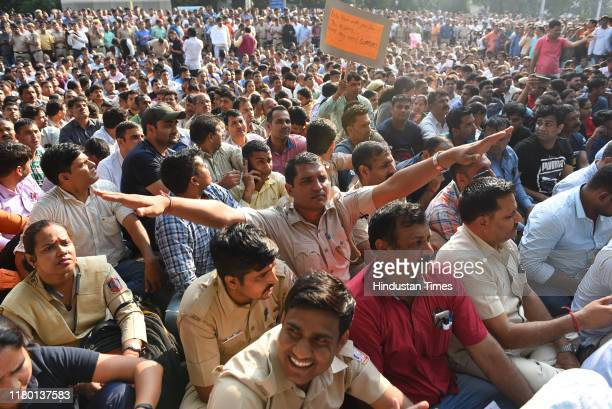 Delhi police personnel from all ranks protest against lawyers after their recent scuffle at Tis Hazari and Saket Court at Police Headquarters on...