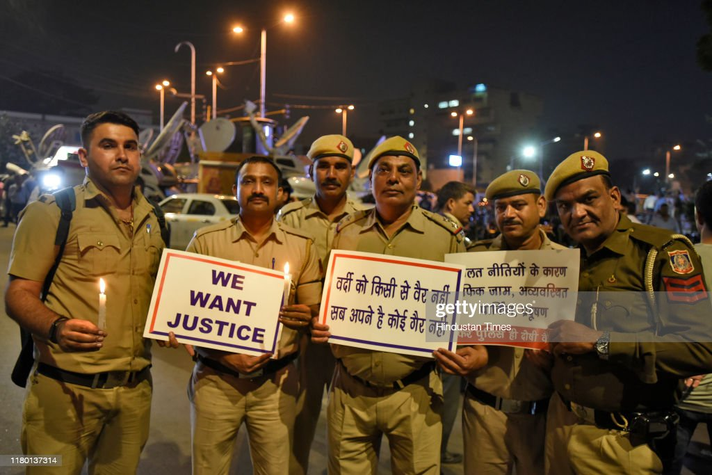 Delhi Police Protest At PHQ Over Clash With Lawyers : News Photo