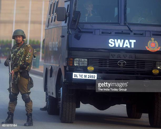 Delhi police soldier near India Gate as the security tightened for the upcoming Republic Day celebration in New Delhi