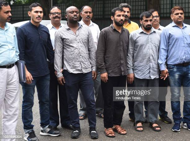 Delhi police special cell arrested 2 Afghan nationals and 1 Nigerian national at Delhi Police headquarters on September 22 2018 in New Delhi IndiaThe...