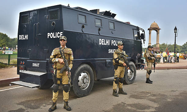 Delhi Police SWAT Commands on alert at India Gate on July 5 2016 in New Delhi India A high alert has been issued in the DelhiNCR region after the...