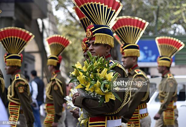 Delhi Policemen during the farewell parade of outgoing Delhi Police Commissioner BS Bassi at Parade Ground New Police Lines Kingsway Camp on February...
