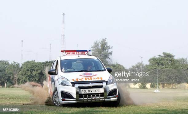 Delhi Police's Parakram vans doing trail stunt at Police Control room Model Town on October 24 in New Delhi India The drivers of Parakram vans are...