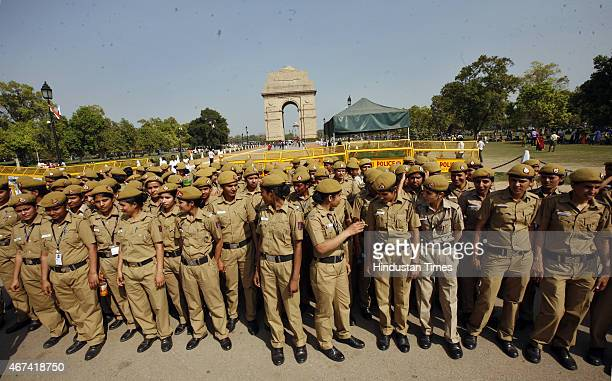 Delhi policewomen deputed in front of India Gate during the protest march by advocates against deferment of tabling in Parliament the amended Bill...