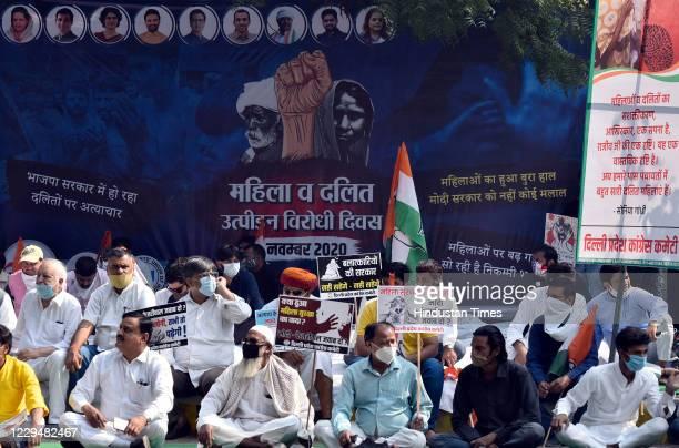 Delhi Pradesh Congress Committee holds a dharna at Jantar Mantar to observe the Mahila and Dalit Utpidan Virodh Diwas, seeking justice for Hathras...