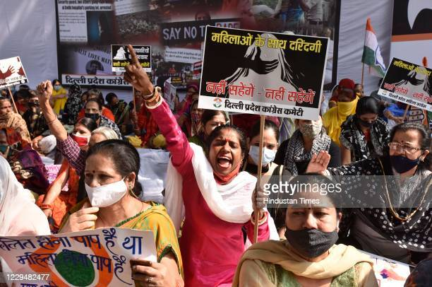 Delhi Pradesh Congress Committee members protest against the recent events of atrocities against women from minority communities in the country, at...