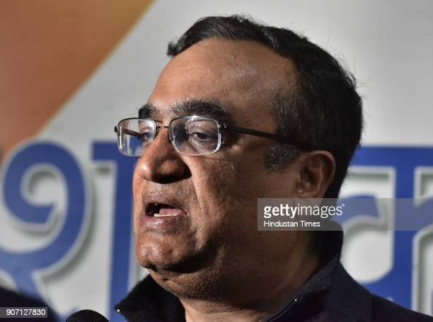 Delhi Pradesh Congress Committee President Ajay Maken during a press conference after 20 Aam Aadmi Party MLAs face disqualification as the Election...