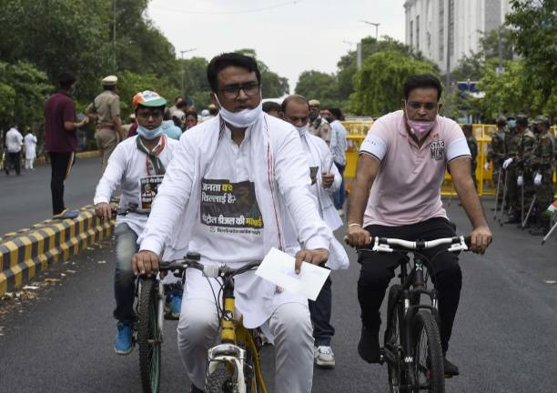 IND: Delhi Pradesh Congress Committee President Anil Kumar Holds Cycle Yatra At Connaught place