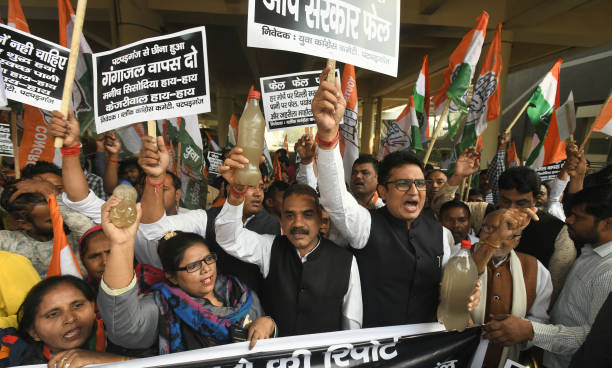 IND: Delhi Youth Congress Members Protest Against The Supply Of Poor Quality Water By DJB