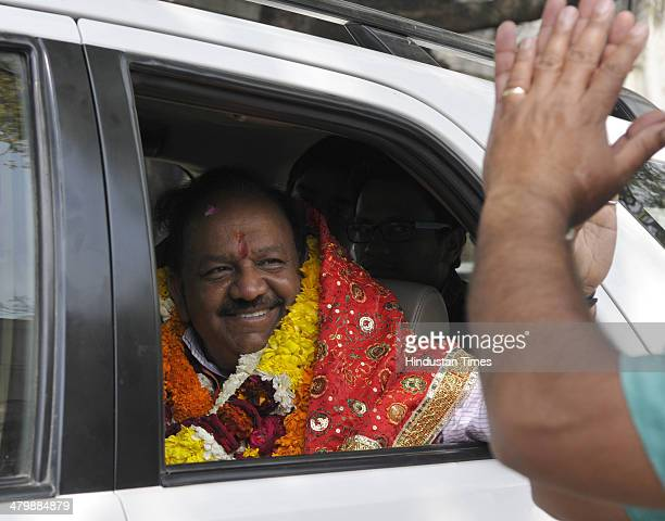 Delhi President and candidate from Chandni Chowk parliamentary constituency Harsh Vardhan with his supporters after filing his nomination papers at...