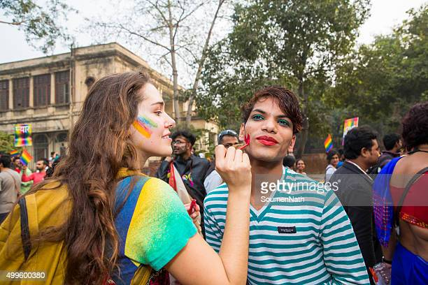 delhi queer pride -2015 - new delhi stock pictures, royalty-free photos & images