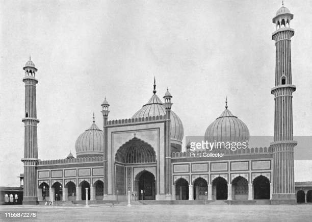 """Delhi. The Jumma Musjid', circa 1910. From """"Cities of the Moguls"""". [Plâté Ltd., Ceylon, ]. Artist Unknown."""