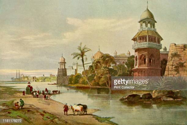 "Delhi - The King's Palace from the River', 1840s, . The Red Fort in the Indian capital, seen from the River Yamuna. From ""The Life and Deeds of Earl..."