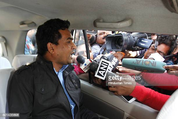 Delhi Tourism Arts and Culture Minister Kapil Mishra talking to media after CBI raided the office of Rajendra Kumar Gupta Principal Secretary to...