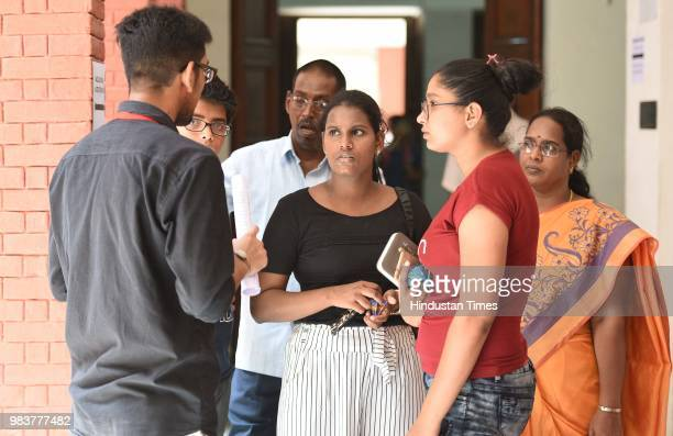 Delhi university aspirants fill their admission forms after the announcement of second cut off list at Shri Ram College of Commerce on June 25 2018...