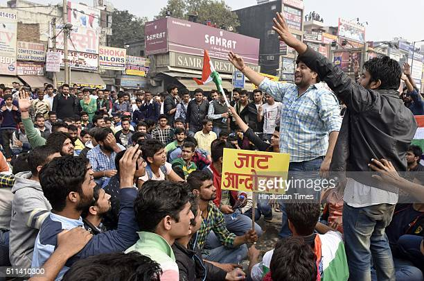 Delhi University students from the Jat community protest at Kingsway Camp crossing near North Campus leading to traffic jams on the Mall Road the...