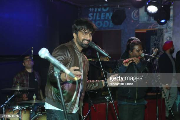 Delhibased singer Akhil Sachdeva performs during the night of the day of love February 14 Valentine's Day at FLYP@MTV on February 14 2018 in New...