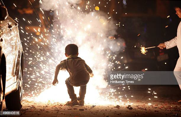 Delhiites burst crackers on the occasion of Diwali the festival of Lights on November 11 2015 in New Delhi India Diwali is an ancient Hindu festival...