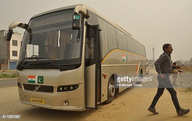 DelhiLahore bus at Kartarpur on September 30 2016 in Jalandhar India The tension between India and Pakistan after Uri attack last week followed by...