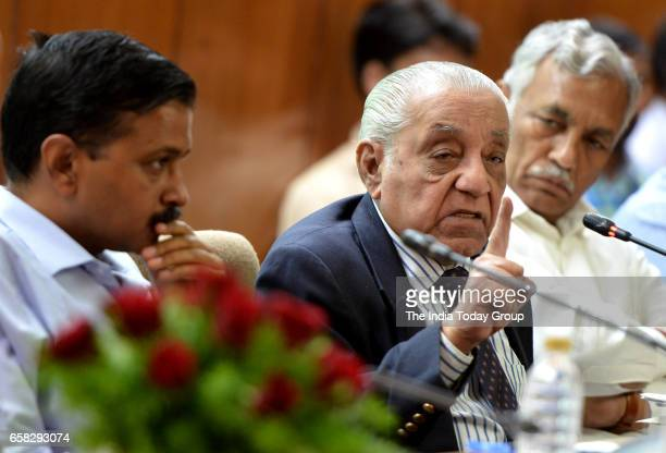 Delhis Chief Minister Arvind Kejriwal and Renowned lawyer author and historian AGNoorani delivering the lecture on 'The trial of Bhagat Singh and his...