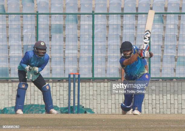 Delhi's player Dhruv Shorey playing shot against Haryana during Delhi vs Haryana T20 match at Feroz Shah Kotla ground in New Delhi