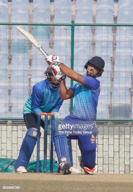 Delhi's player Nitish Rana playing shot against Haryana during Delhi vs Haryana T20 match at Feroz Shah Kotla ground in New Delhi