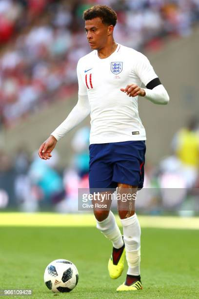 Deli Alli of England in action during the International Friendly match between England and Nigeria at Wembley Stadium on June 2 2018 in London England