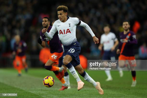Deli Alli of Tottenham in action during the Premier League match between Tottenham Hotspur and Manchester City at Tottenham Hotspur Stadium on...