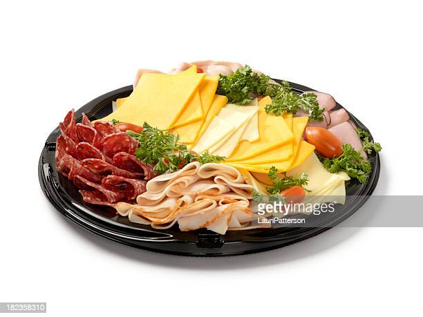 deli meat and cheese party tray - delicatessen stock pictures, royalty-free photos & images