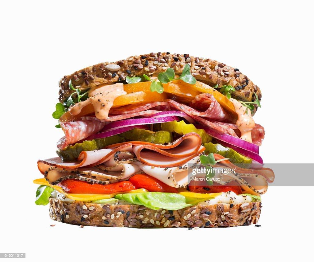 Deli meat sandwich on whole grain bread : Foto de stock