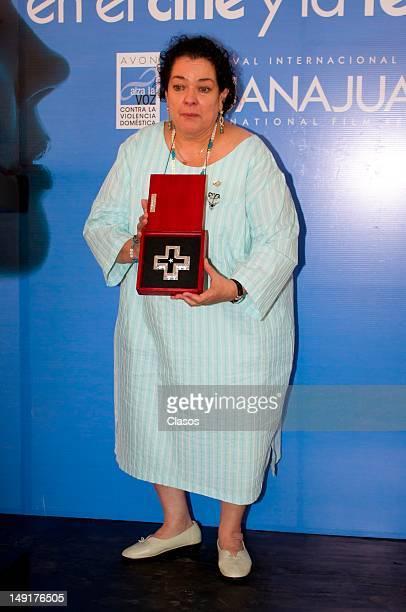 Delia Casanova poses for a picture during the tribute event Mujeres en el Cine y Televisión en la Ex Hacienda de San Gabriel de Barrera on July 22,...