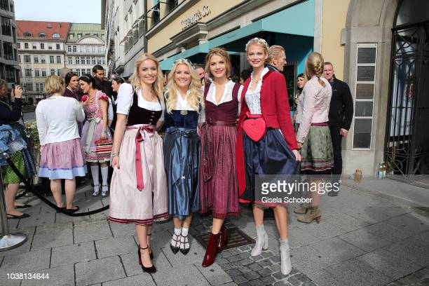 Delia Fischer Jennifer Knaeble Viviane Geppert and Darya Strelnikova during the 'Fruehstueck bei Tiffany' at Tiffany Store ahead of the Oktoberfest...