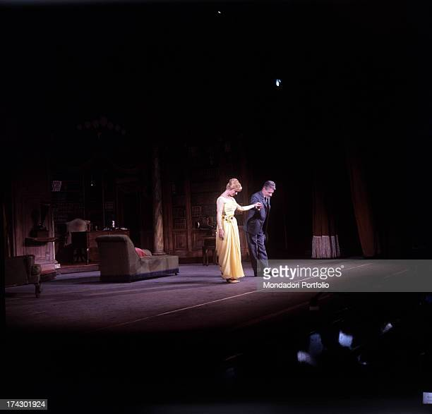 Delia Scala, stage name of Odette Bedogni, and Gianrico Tedeschi, hand in hand bowing and receiving applause at the end of the play; they are the...