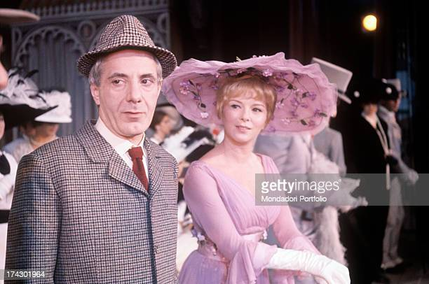 Delia Scala, stage name of Odette Bedogni, in the role of Eliza Doolittle, and Gianrico Tedeschi, in the role of the cynical professor Higgins, in...