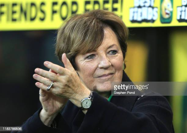 Delia Smith acknowledges the fans during the Premier League match between Norwich City and Manchester United at Carrow Road on October 27 2019 in...