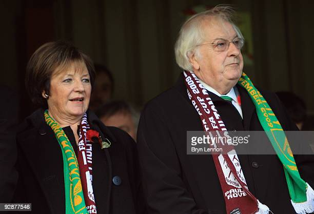 Delia Smith and her husband Michael Wynn-Jones attend the FA Cup 1st Round match between Paulton Rovers and Norwich City on November 7, 2009 in...