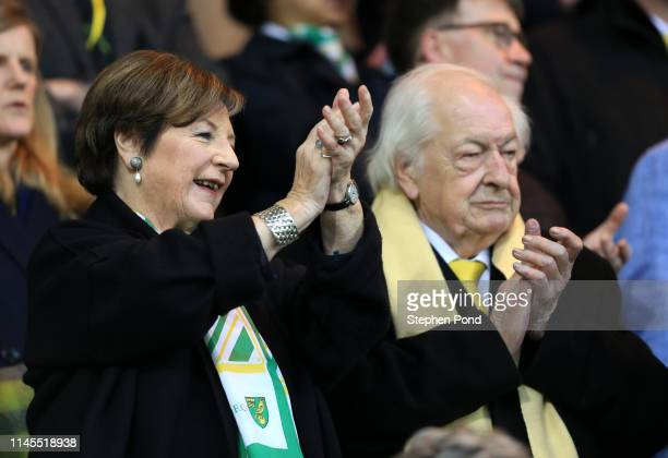 Delia Smith and her husband Michael WynnJones look on prior to the Sky Bet Championship match between Norwich City and Blackburn Rovers at Carrow...
