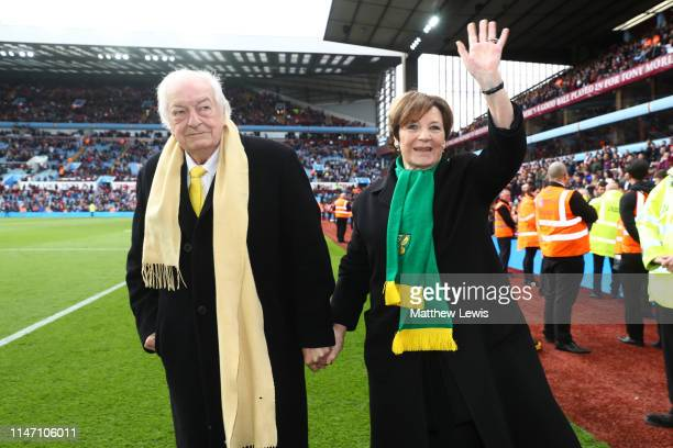Delia Smith and husband Michael WynnJones celebrate winning the title after the Sky Bet Championship match between Aston Villa and Norwich City at...