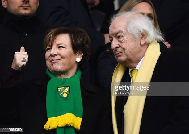 Delia Smith and husband Michael WynnJones look on prior to the Sky Bet Championship match between Wigan Athletic and Norwich City at DW Stadium on...