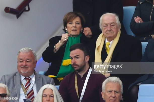 Delia Smith and husband Michael WynnJones look onduring the Sky Bet Championship match between Aston Villa and Norwich City at Villa Park on May 05...