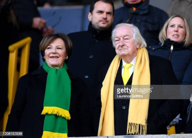 Delia Smith and Michael WynnJones are seen prior to the Premier League match between Wolverhampton Wanderers and Norwich City at Molineux on February...
