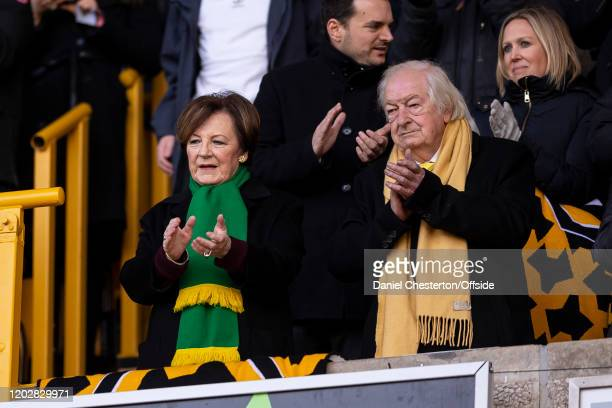 Delia Smith and Michael WynnJones watch on during the Premier League match between Wolverhampton Wanderers and Norwich City at Molineux on February...