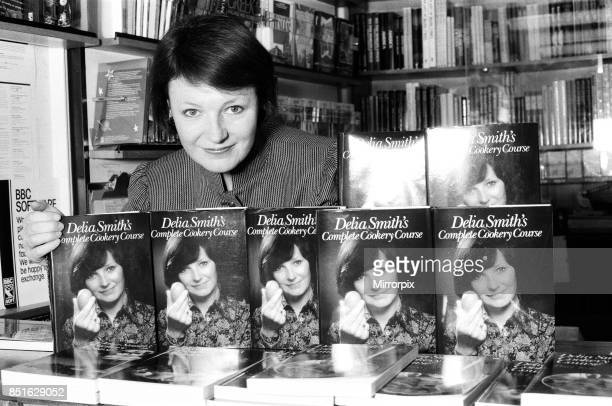 Delia Smith at a BBC Book Shop in Marylebone High Street, London with some of her latest books, 27th November 1984.