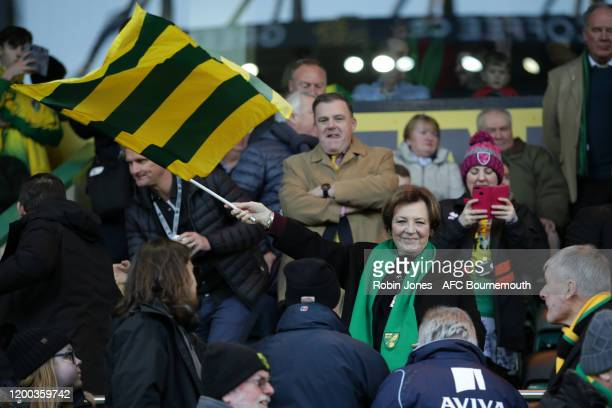 Delia Smith before the Premier League match between Norwich City and AFC Bournemouth at Carrow Road on January 18 2020 in Norwich United Kingdom