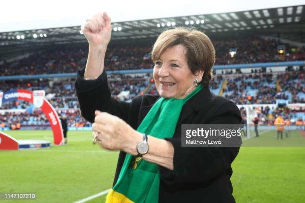 Delia Smith celebrates winning the title after the Sky Bet Championship match between Aston Villa and Norwich City at Villa Park on May 05 2019 in...