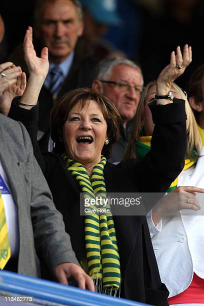 Delia Smith cheers prior to the npower Championship match between Portsmouth and Norwich City at Fratton Park on May 2, 2011 in Portsmouth, England.