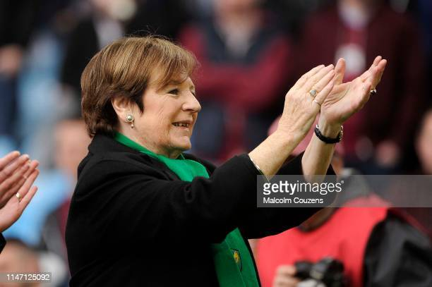 Delia Smith director of Norwich City applauds the supporters following the Sky Bet Championship game between Aston Villa and Norwich City at Villa...